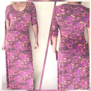 Nikki Poulos Pink Graphic Maxi V Neck Dress